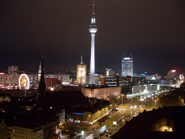 Berlin Alexander Platz at Night with TV Tower and City hall. By Tom Williamson