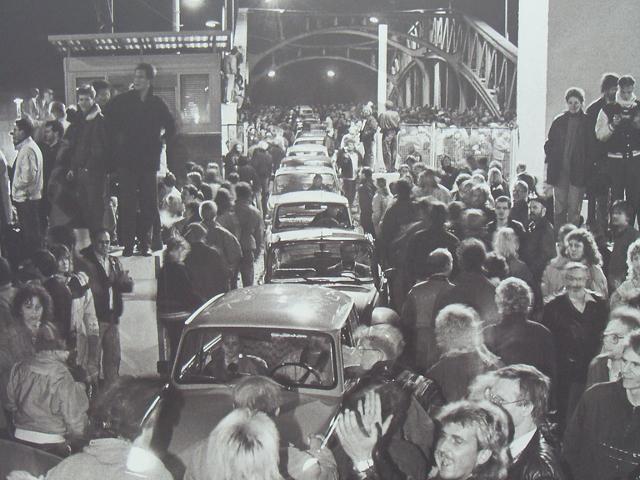 Berlin November 9, 1989, Bornholmer Crossing. The night the wall came down in Berlin...